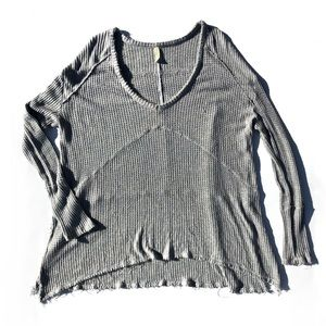Free People Grey Waffle Knit V Neck Thermal